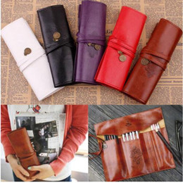 wholesale make up supplies Canada - Leather Vintage Retro Twilight Saga Pencil Bag Vampire Make up Cosmetic Roll Pencil Case School Supplies Free shipping