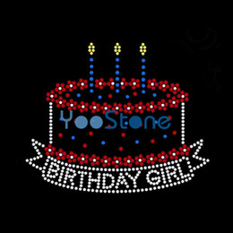 Cheap Cupcakes Wholesale NZ - Cheap With Hot Selling Birthday Cupcake Rhinestone Iron On Transfers Hotfix Motif