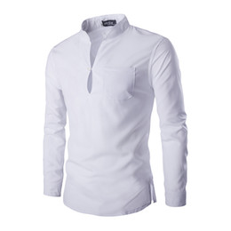 mandarin collar shirts wholesale 2019 - Wholesale- Fashion Men Shirts Solid Casual Male Slim Shirt Cotton Fitted Classic Shirt male Homme Clothes Camisa Masculi