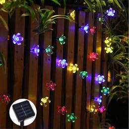 All'ingrosso-50 LED 7M Peach Sakura Flower Solar Power Power LED String Fairy Lights Solar Ghirlande Garden Decorazioni di Natale per esterni