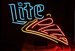 Wholesale Fashion Handcraft Miller Lite Pizza Real Glass Beer Bar Display neon sign x15 Best Offer