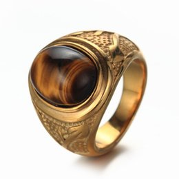 $enCountryForm.capitalKeyWord Canada - Men's Stainless Steel Retro Tiger Eye Ring Silver and Golden Colors for Choose Avivahc 136
