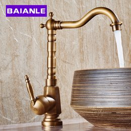 antique copper bathroom faucet hot and cold heightening counter basin faucet retro copper rotatable