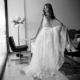 Discount deep neckline wedding dresses - Vestido De Noiva Boho Wedding Dresses Deep V Neckline A line Sexy Bohemia Beach Bridal Gown 2019 Sexy Backless