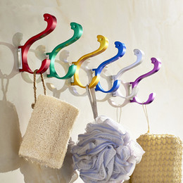 $enCountryForm.capitalKeyWord NZ - Wholesale 100 Pcs Metal Aluminum DIY Multi Color Towel Wall Hook Bathroom Kitchen Clothes Key Hat Bag Hanger Rack Holder Wall Mounted