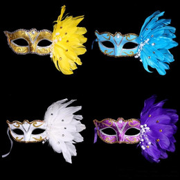 Celebrity Halloween Face Masks For Girls NZ - 50PCS New Exquisite mystery Masked Girl Feather Half Face Painted Mask Masquerade Christmas Halloween Birthday Party Accessories