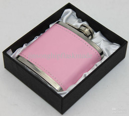 Gift Boxed Flasks NZ - pink pu leather wrapped 3oz pocket flask in black gift box