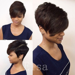 $enCountryForm.capitalKeyWord NZ - Straight Human Hair Natural Black Brazilian Virgin Short Hair Cheap Bob Wig For African Americans Fashion Style