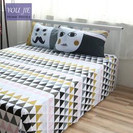 wholesale cotton bed linen geometric sheet sets custom size cotton flat sheet queen fitted sheet twin pillow case beddig sets