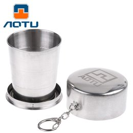 $enCountryForm.capitalKeyWord Canada - AOTU Stainless Steel Retractable Folding Portable Travel Drinking Cup With Keychain Folding Collapsible Cup 085