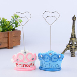 Princess Pink Decoration Canada - Blue Pink Crown Prince Princess Name Number Table Place Card Holder Wedding Party Favor Wedding Decoration ZA3561