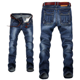 c54a18c7575 Wholesale- Men s Relaxed Fit Straight Leg Jeans Stretchy Denim Pants for Men  Big Plus Size 28-42 44 46 48
