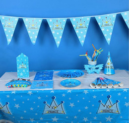 Wholesale 80pcs set Whole Party Accessories Set for Baby Boys Prince Blue Birthday Party Supplies Banner Hat Cutlery Plates Cups Set of MT