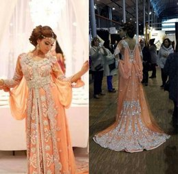 Celebrity kaftan dress online shopping - Elegant Kaftan Abaya Arabic Dresses Evening Wear Beaded Sequins Appliques Chiffon Long Formal Gowns Dubai Celebrity Prom Dresses