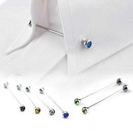 Оптовая продажа 8 шт. Серебряный горный хрусталь мужчины рубашка воротник Pin бар брошь галстук Stick Lapen Pin рубашка с воротником бары ювелирные изделия галстук контактный 070008