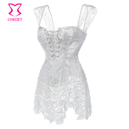 Plus Size Clothing For Weddings UK - Floral Lace&Brocade White Corset Dress Plus Size Steampunk Corsets Bustiers Sexy Gothic Clothing e Wedding ett For Women