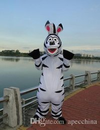Costume De Zèbre Madagascar Pas Cher-2018 Usine vente directe Super Qualité Madagascar Zebra Marty Mascotte Costume Halloween Party Photos Réelles! Costume de mascotte de dessin animé