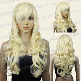 Heart Wig NZ - 70cm Light Golden Blonde Heat Styleable Bang Sexy Curly Long Cosplay Wigs 70_LGB