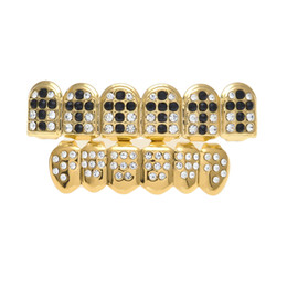dental gold teeth UK - New Gold Plated Iced Out Black Hip Hop Teeth For Mouth GRILLZ Caps Top & Bottom Grill Set Vampire teeth Jewelry