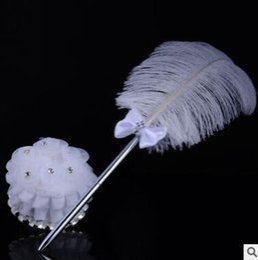 $enCountryForm.capitalKeyWord NZ - 2017 New Wedding accessories ostrich feather pen western-style wedding professional check-in pen creative