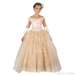 Wholesale Hot sale Simple Retro Lace Ball Gown Flower Girl Dresses Appliques Tulle Girls Pageant Gown Custom sizes