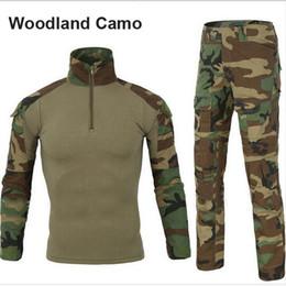 Venta al por mayor de Traje táctico de combate Rana uniforme ejército ropa pantalones tácticos con rodilleras Manga larga camisa con codo almohadillas uniformes de combate de camuflaje