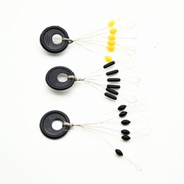 $enCountryForm.capitalKeyWord UK - Wholesale- 35 Pcs set Black Rubber Oval Stopper Fishing Bobber Float Space bean Stopper Folat Line Stoppers Bobber Stops