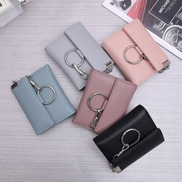 Color Coin NZ - 2017 New Arrival! Designed Women Short Wallet Sugar Color Coin Purse Chain Clutch Bag Mini Business Card Holder