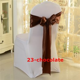 Chocolate Color Satin Chair Sash Chair Bow Fit On Spandex Chair Cover  Decoration