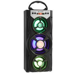 MS portatile all'ingrosso - 220BT Altoparlante Bluetooth FM Radio AUX Suono stereo enorme con altoparlante Hi-Fi da 4 pollici Luce LED colorata in Offerta