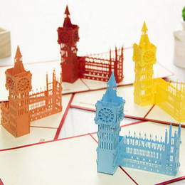 Discount 3d papers models - (12 pieces lot)Origami Paper Pop Up Greeting Card 3D Famous The Big Ben Building Model Gift Card for Friend Free Shippin