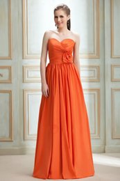 Barato Vestido De Laranja Tafetá-Hot Sale Sweetheart Flower Orange Taffeta Long Vestidos de dama de honra 2017 Vestido Madrinha Casamento Maid of Honor Dress Vestidos de noiva