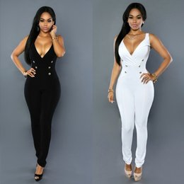 Combinaison Double Pas Cher-Grossiste- Adogirl Double Breasted V Neck Femmes Jumpsuit Noir Blanc Slim Skinny Sleeveless Longueur Bodysuit Sexy Ladies Club Romper