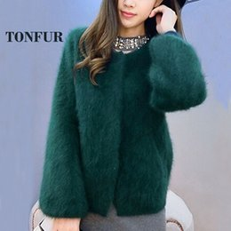 Barato Vendas De Vison-Atacado- 100% Genuine Mink Cashmere Coat Knitted Natural Real Mink Cashmere Cardigans Mulheres Hot Sale Factory Wholesale Sweater DFP946