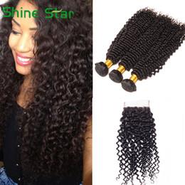 Unprocessed Wholesale Human Hair Australia - Brazilian Kinky Curly With 4x4 Lace Closure Brazilian Curly Hair With Closure Unprocessed Brazilian Virgin Human Hair Bundles With Closure