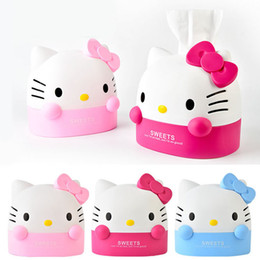 Napkins Roll Holder Canada - Wholesale- Kawaii Kitty Cat Home&Car Tissue Box Case.Removable Paper Napkin Creative Home Decor.Tissue Boxes.Cartoon Roll Paper Holder