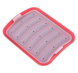 Wholesale Silicone Sausage baking Mold Food Grade Silicone Lazy DIY Hot Dog Making Moulds Sausage Maker Red