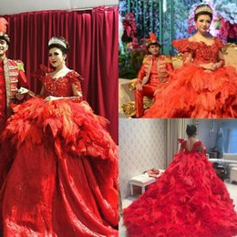 Feather Long Ball Gown Canada - Major Beading Ball Gown Vintage Wedding Dresses With Sleeves Feather Lace Bridal Gowns Red Wedding Dress Long Train