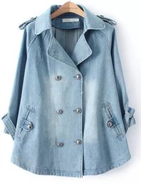 Barato Casaco De Pêlo Duplo-Outono Inverno Outono Outono 2011 Denim Cape Jacket Mulheres Outwear 3/4 manga Turn-down Collar Double Breasted Jeans Long Dress Coat