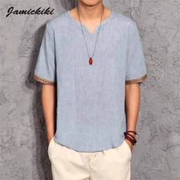 Discount korean style t shirt man - Wholesale- Korean Style Mens t shirts 2016 Summer Fashion Mens V-neck Cotton and Linen t-shirt Homme Baggy Tops Tees Hig