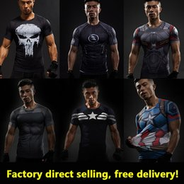 Barato Cópias Das Camisas Do Anime-Captain America 3D T Shirt Men T-Shirt Masculino Crossfit Tops Imprimir Anime Superhero Superman tshirt Men Fitness Compression Shirt