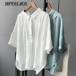 Tops À Dos Longs Pas Cher-Chemises de bureau pour dames Solid White Green Loose Turn Down Collar Back Bow Half Sleeve Short Front Long Back Womens Tops And Blouses