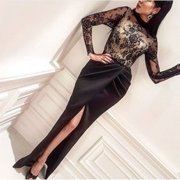 Barato Vestidos De Noite Longos Retos-2017 Preto Straight Satin Mermaid Evening Dresses Front Split Sheer Long Sleeves Partido formal personalizar Sexy Prom Vestidos