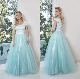 Robe Verte De Menthe D'adolescents Pas Cher-Mint Green Long Modest Robes de bal 2017 Cap Mains Dentelle Tulle Cheap Prom Party Robes Longueur de plancher A-line Custom Made Teens Robe de bal