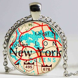 $enCountryForm.capitalKeyWord Canada - Vintage Map New York Glass pendant. Vintage Map Necklace. Vintage Map jewelry, birthday ,Glass Cabochon Pendant,Silver Plated