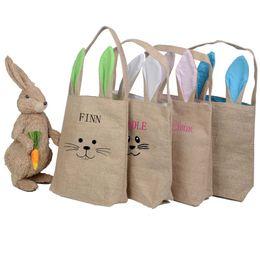 Fine linens online shopping - styles Cotton Linen Easter Bunny Ears Basket Bag For Easter Gift Packing Easter Handbag For Child Fine Festival candy Gift