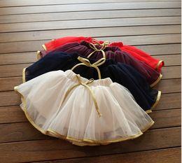 Red White Blue Tutus UK - 2017 New Cute Girls Sweet Skirts Baby Girl Cotton Tulle Tutu Skirt Children Lace Gauze Mini Skirts Fashion Kids Dance Skirts 2-7T 5pcs lot