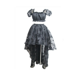 $enCountryForm.capitalKeyWord Canada - Lolita Lace Mesh Rose Floral Sleeves Crop Top with Floor Length High Low Asymmetrical Ruffler Multi Layer Mesh Floral Lace Hi-low Skirt