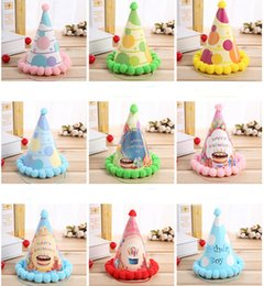 Chapeau De Fête Cône Pas Cher-Vente en gros-6 pc multicolore élégant anniversaire Happy Birthday Cap Anniversaire en papier Cone Hat Birthday Party Decoration