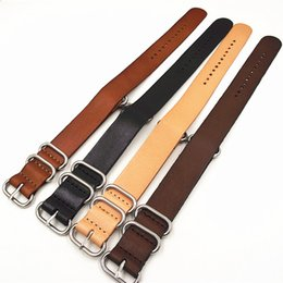 040828deb50 Wholesale-10PCS lot High quality 18MM 20MM 22MM 24MM Nato strap genuine cow leather  Watch band NATO straps zulu strap watch strap